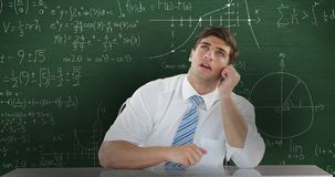 Man sitting and thinking in front of moving maths calculations on chalkboard 4k