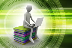 Man sitting on top of books while using laptop Stock Images