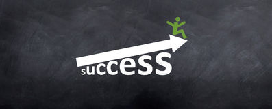 Man sitting on top of Success Arrow Stock Photos