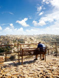 A man sitting at view point, Amman,Jordan Royalty Free Stock Image