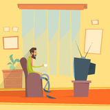 Man Sitting Watching Tv Home Chair Drink Coffee Stock Images
