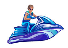 Man sitting on water scooter, jet ski Royalty Free Stock Photography