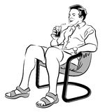 Man sitting in white and black Royalty Free Stock Images