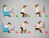 Man sitting and working correct postures Royalty Free Stock Photography