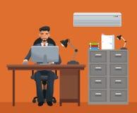 Man sitting workplace cabinet file desk laptop. Vector illustration eps 10 Stock Photo