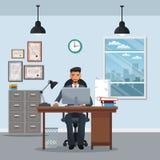 Man sitting workplace cabinet file desk laptop window clock. Vector illustration eps 10 Royalty Free Stock Image