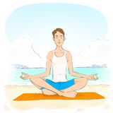 Man sitting in yoga lotus position closed eyes Stock Image