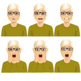Man on six different face expressions set. Handsome young blond man with glasses on six different face expressions set Stock Image