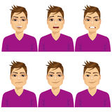Man on six different face expressions set Stock Photo
