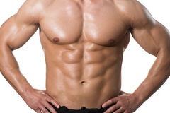 Man With Six Pack Close-up Over White Background. Young Muscular Man Posing In Studio Showing Abs - Isolated On White Background Stock Image