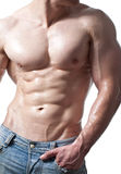 Man with Sixpack. Muscular male torso, isolated on white Stock Images