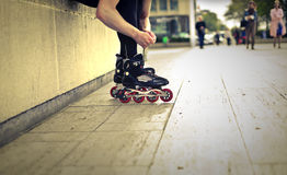 Man in skate. On the street Stock Images