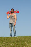 Man with a skateboard Stock Image