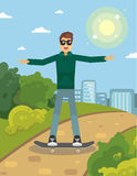 Man on skateboard. Funny man skateboarding outdoors, vector cartoon Royalty Free Stock Photography