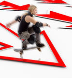 Man with skateboard jumping over arrow Stock Photo