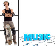 Man with skateboard and music text Royalty Free Stock Photo