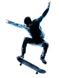 Man skateboarder skateboarding silhouette Stock Photography