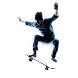 Man skateboarder skateboarding silhouette Royalty Free Stock Photos