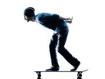 Man skateboarder skateboarding silhouette Stock Photo