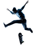 Man skateboarder skateboarding silhouette Stock Images