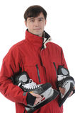 Man with skates Stock Photo