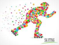 Man skating, skating sports with polka dots design - vector eps10 Stock Image