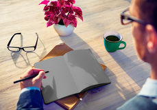 Man Sketch Working Writing Idea Analysing Concept Royalty Free Stock Images