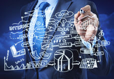 Man sketching business ideas. Close view of businessman drawing strategy plan on screen Stock Photo