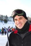 Man ski. Portrait of a happy attractive man on downhill ski resort Royalty Free Stock Photos