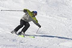 Man ski fast pose Stock Image