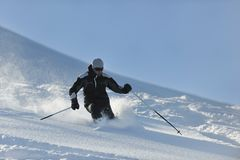 Man ski free ride Stock Photography