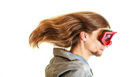 Man in ski glasses goggles. Winter sport. Royalty Free Stock Images