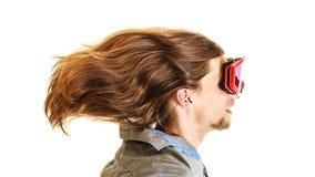 Man in ski glasses goggles. Winter sport. Royalty Free Stock Image
