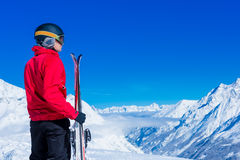Man On Ski Holiday In the Mountains Stock Photography