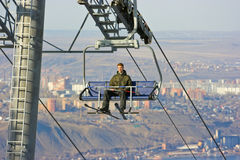 Man on the ski lift Stock Photo
