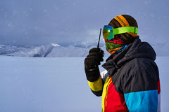 Man in a ski mask says on  radio Royalty Free Stock Photography