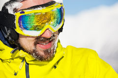 Man in ski mask and snow on beard Royalty Free Stock Photography