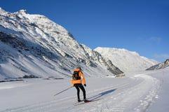 Ski skating in Silvretta Hochalpenstrasse, Austria Stock Image