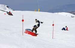 Man on ski slopes of Pradollano ski resort in Spain stock images
