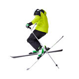 Man skier freestyler jumping Stock Photos