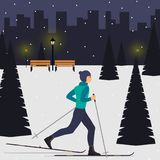 Man skier in motion in a snowy city park among the fir trees. Cross country skiing man. Young man on skies in the city. Vector ill. Ustration in flat style Royalty Free Stock Photography