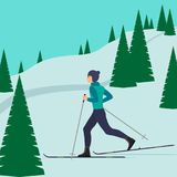 Man skier in motion on a snowy hill among the fir trees. Cross country skiing man. Young man on skies. Vector illustration in flat. Style Royalty Free Stock Image