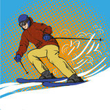 Man skier skiing in mountains. Vector illustration in pop art retro style. Winter sports vacation concept Stock Photo