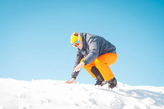 Man skier waving hands excited winner Royalty Free Stock Images