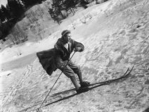 Man skiing. (All persons depicted are no longer living and no estate exists. Supplier grants that there will be no model release issues stock image