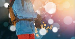 Man skiing bokeh effect Royalty Free Stock Photography