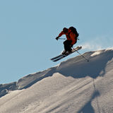 Man skiing in Caucasus mountains Stock Images