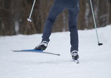 Man skiing cross-country Stock Images