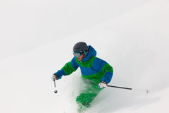 Man skiing downhill Royalty Free Stock Photography