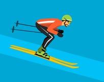 Man skiing downhill. Winter sport activity Royalty Free Stock Photography
